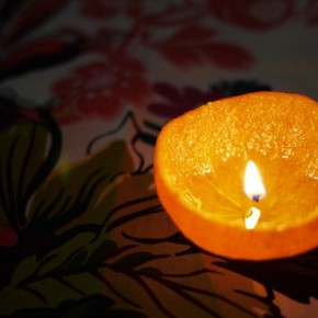 Делаем ароматные свечи из мандарина