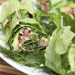 Зеленые роллы в листьях салата «Здоровье»