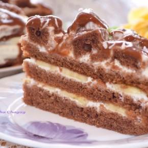 Шоколадно – банановый торт
