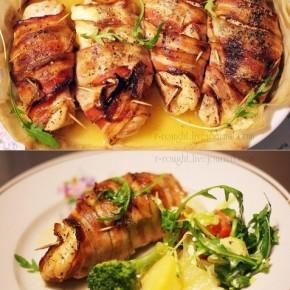 Куриное филе, запеченное с сыром и беконом
