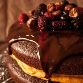 Шоколадно-кофейный торт с начинкой из тыквы